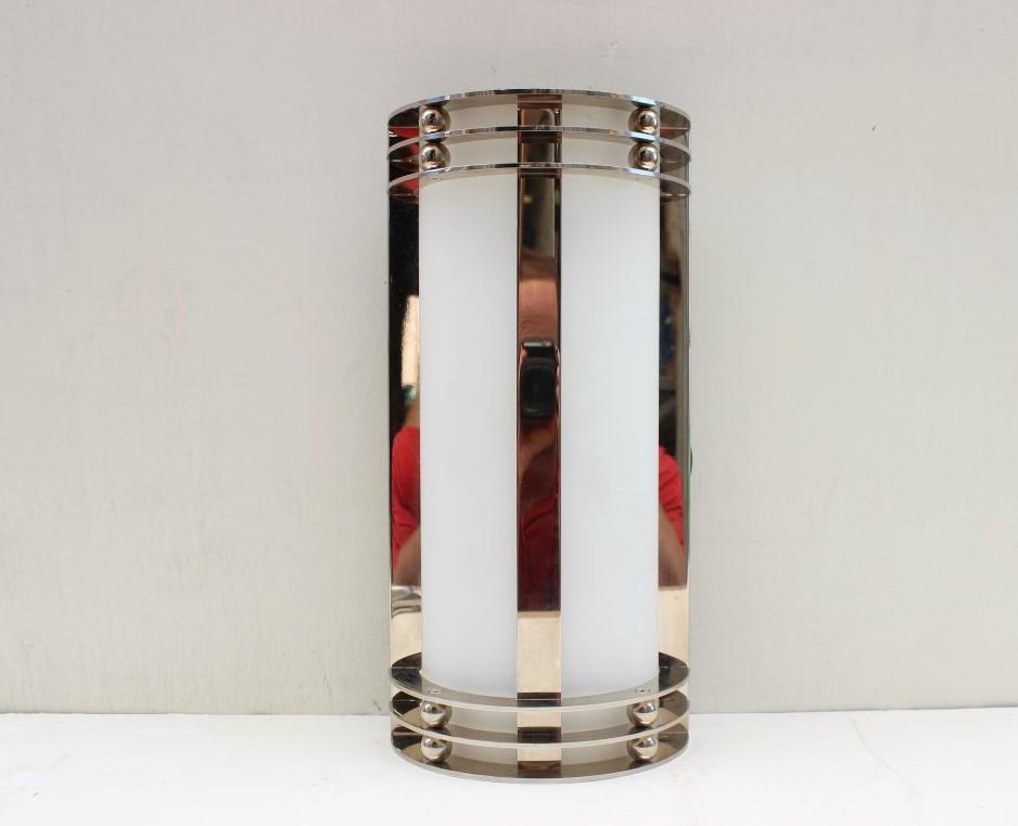 Chrome Art Deco Wall Light For Bathroom Mirrors Or Walls: Electric Art Deco Chrome Bathroom Sconce [26 51 13.50-0008