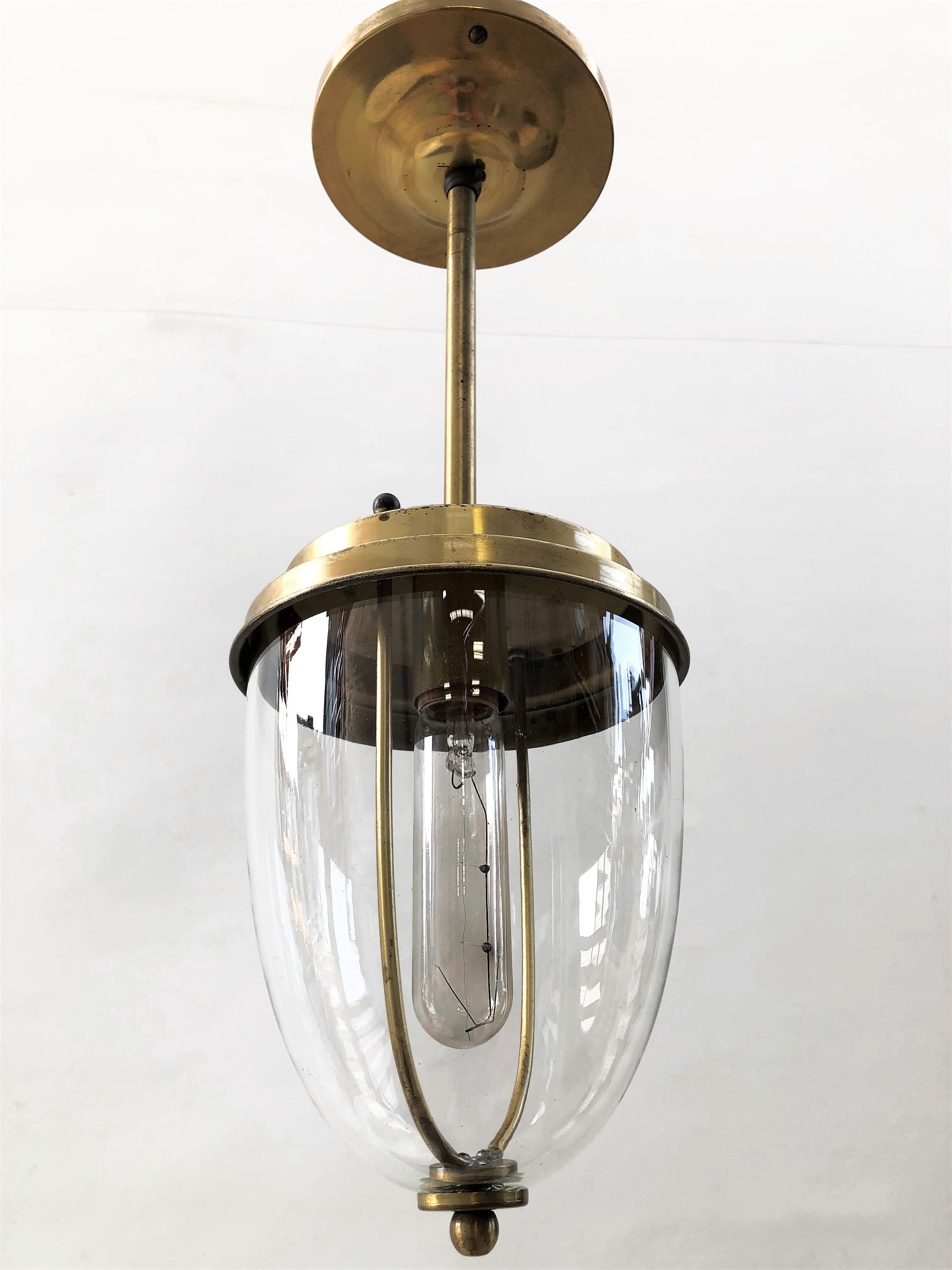 Brass Glass Dome Drop Pendant Light Fixture [26 51 13.50 ...