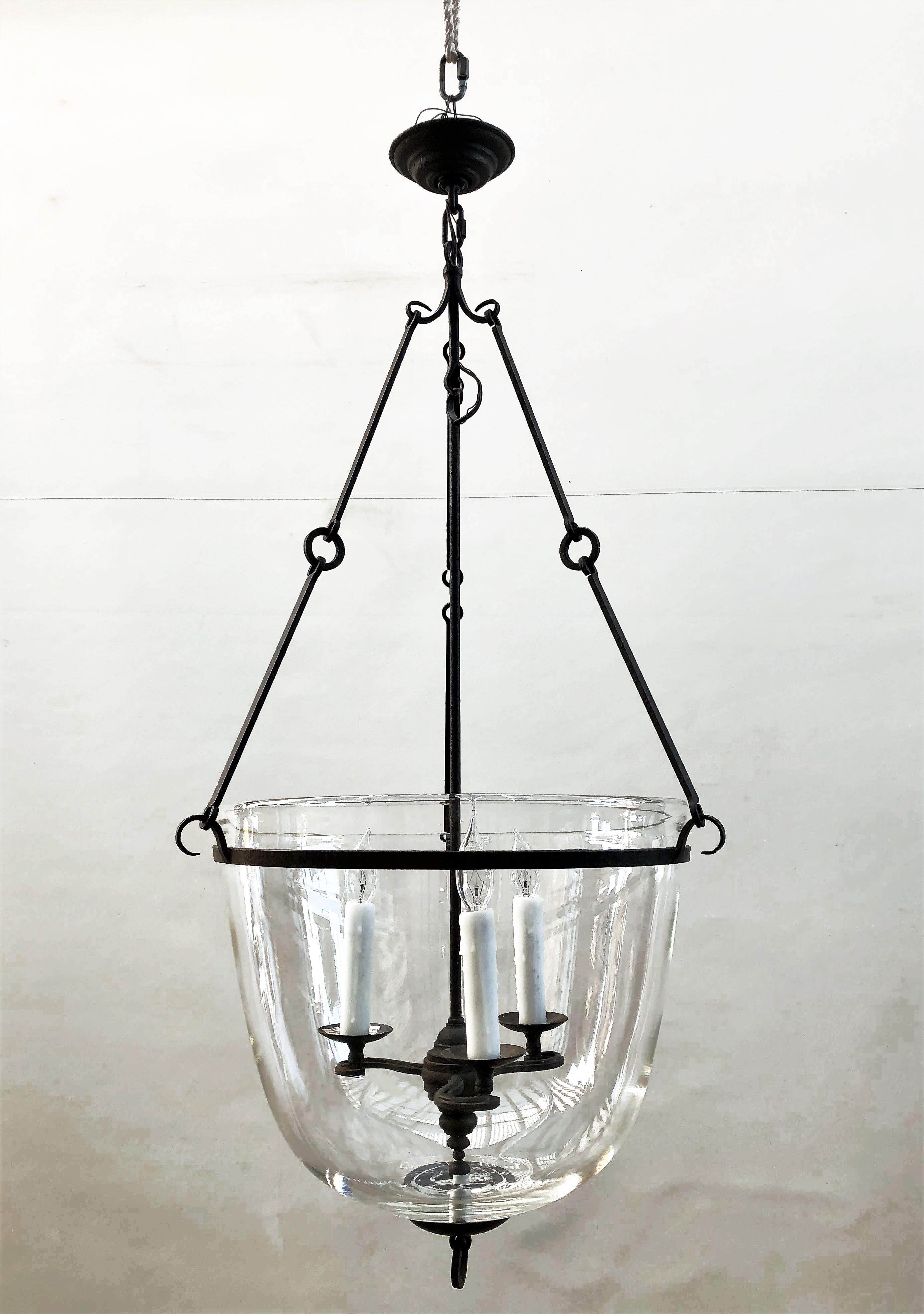 Wrought Iron Large Gl Bell Jar Hanging Light Fixture 26