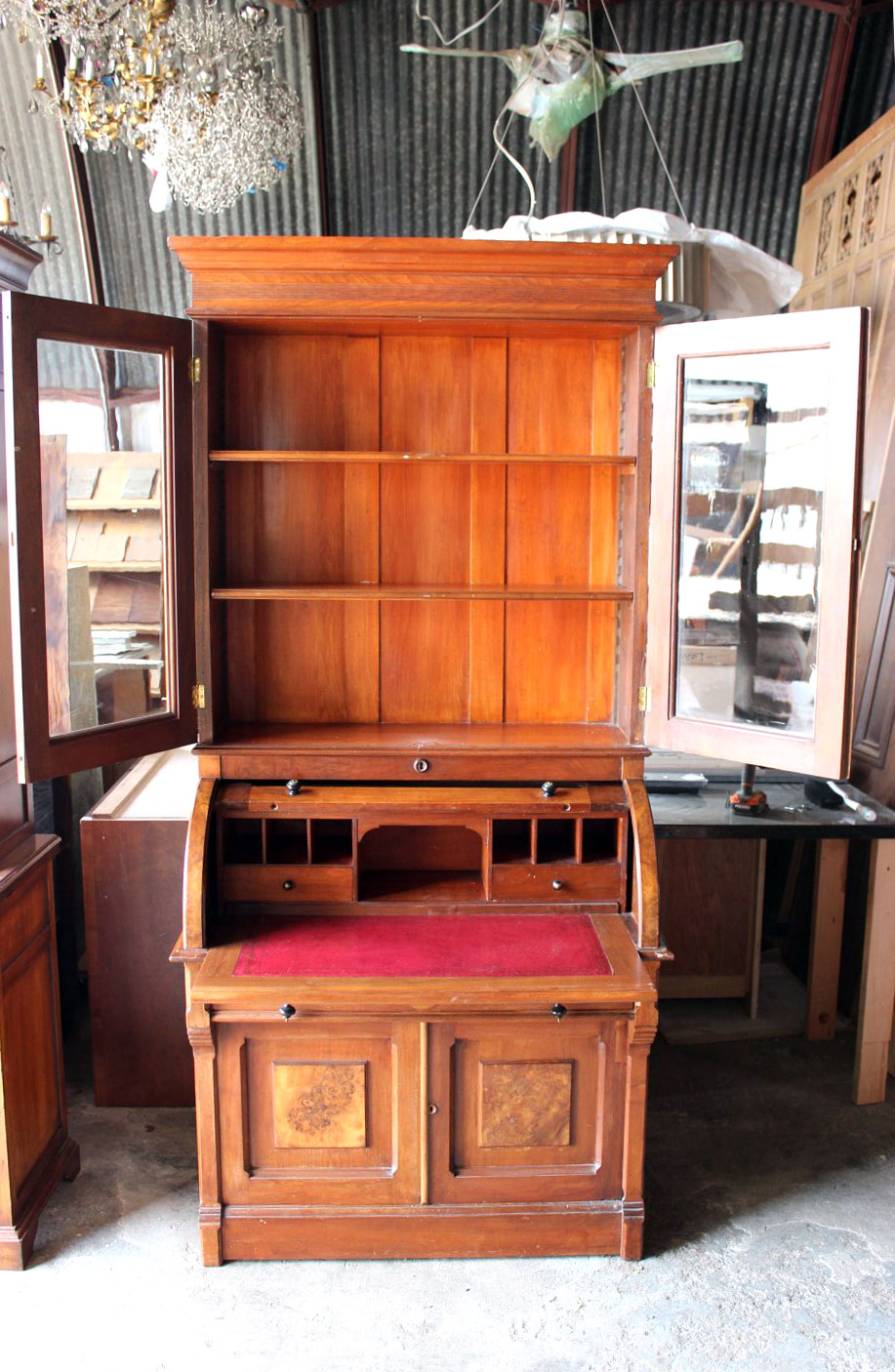 Victorian Antique Walnut Roll Top Secretary Desk 12 51 16