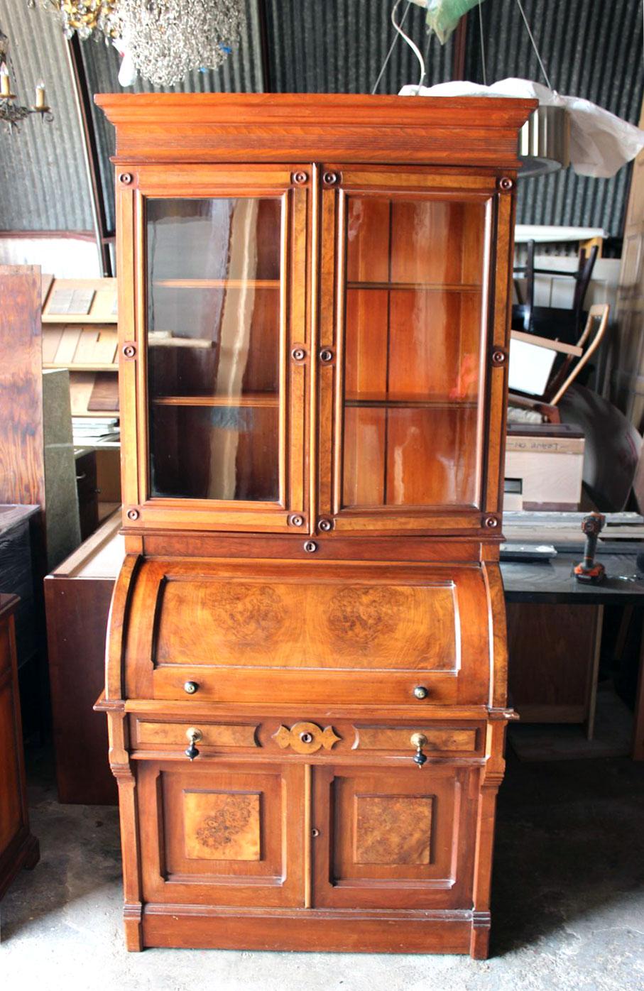 Victorian Antique Walnut Roll Top Secretary Desk